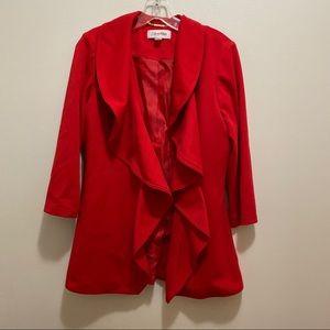 Calvin Klein Red Fly Away Ruffle Lapel Blazer